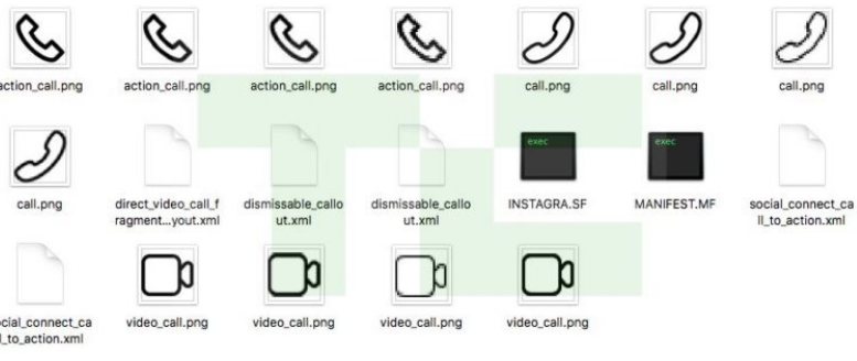 Instagram call icons